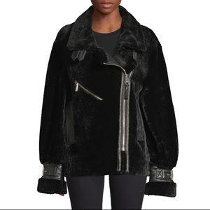 Nicole Benisti Greenwich shearling Moto coat NWT L